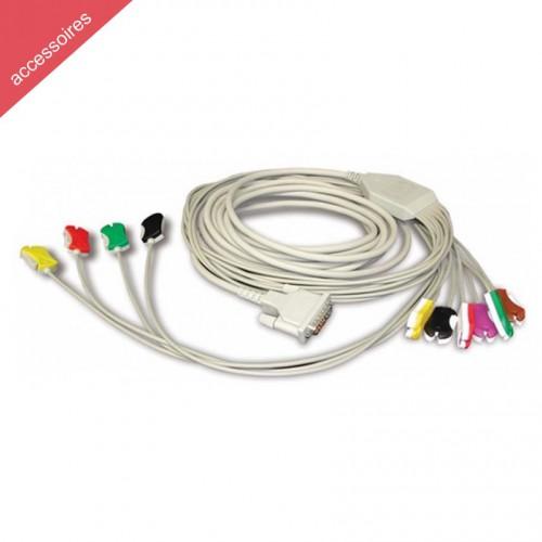 Câble Patient 10 Lead IEC 2m type plug clip